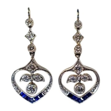 Vintage Sapphire and Diamond Drop Earrings