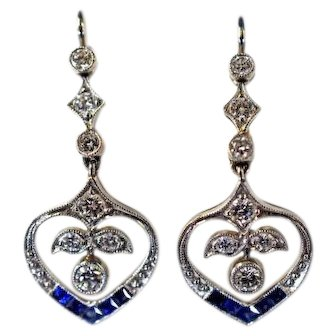 Vintage Sapphire and Diamond Drop Earrings