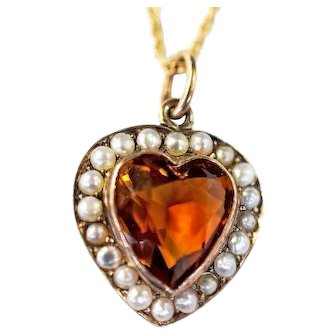 Vintage Citrine and Pearl Heart Pendant