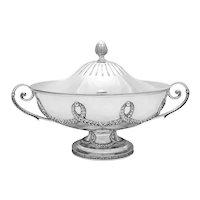 Monumental 800 Fine Silver Neoclassical Tureen, Italian Mid 20th Century