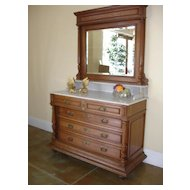 SALE ITEM Antique Vanity Dresser, Chest,  Commode/Mirror w/ exquisite Carrara Marble top, integrated Back and Sidesplashes coordinating nightstand available