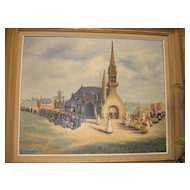 "SALE ITEM Fabulous Flemish Original Oil Painting on Canvas Framed , "" Procession"" by Van de Maele"