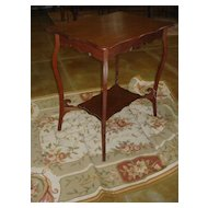 French Antique Occasional or Side Table, Handcarved Solid Oak