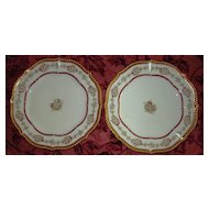 Pair of French Limoges Elite Works Dessert Plates, Red Borders