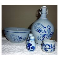 Salt glazed European stoneware 5 piece  set blue/grey, with Cobalt swirls