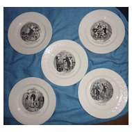 "set of 5 French Vintage ""Assiettes Parlantes"", from Les Combles series * FALL Sale Item"