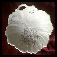 Old French Luneville Ceramic Porcelain Leaf Dish