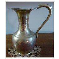 Brass Etched Enamel Pitcher /Vase, French Estate find