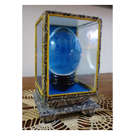 Etched Crystal Egg in Boxed Display Stand
