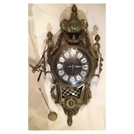 19th Century French Bronze Wall Clock  SALE ITEM