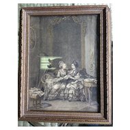French Antique Jewelry Music Box with Framed Print in cover