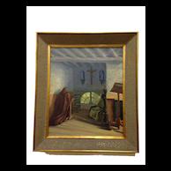 "Original Framed Oil Painting, ""Brothers In Prayer""  by Flemish Artist J Van der Maele"