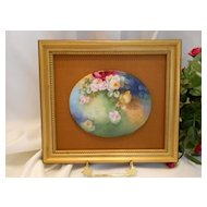 Lovely Limoges Plaque; Painting on Porcelain; Beautiful Roses; Framed