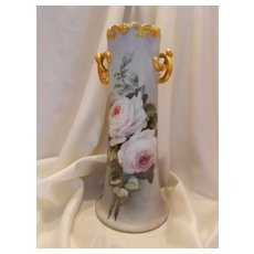 "Superb, Huge 15+"" Austria Twisted Handle Floor Vase;  Pristine White Roses - Red Tag Sale Item"
