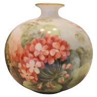Gorgeous Willets Belleek Bulbous, Round Vase;  Wonderful, Colorful Geraniums