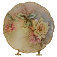 Limoges Scalloped Plate; Exquisite Yellow & Mauve Roses