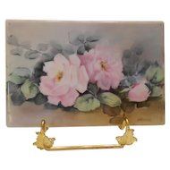 Sweet Limoges Hand Painted Tile; Pretty Roses; Artist