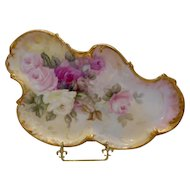 Lovely & Graceful Limoges Nouveau Dresser Tray; White, Pink & Ruby Roses