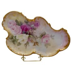 Lovely & Graceful Limoges Nouveau Dresser Tray; White, Pink & Ruby Roses - Red Tag Sale Item