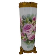 Excellent Limoges Guerin Cylinder Vase; Factory Decorated with Metal Gargoyle Base & Rim