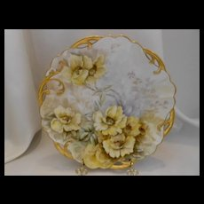 Wonderful Old  Rosenthal Plate; Vibrant & Flowing Yellow Roses
