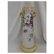 """Outstanding Large Limoges 15"""" Twisted Handled Vase; Beautiful Summer Clematis"""
