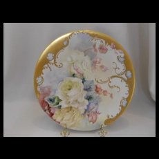 Outstanding Limoges Plate; Soft Yellow Roses; Very Heavy Gold; Scroll & Beading