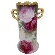 Stunning C.T. Altwasser Silesia Branch Handle Vase; Huge, Vivid Roses