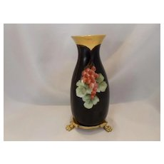 Delightful Bavarian  Currants on Black Vase with Footed Plinth/Base