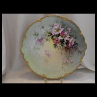 Excellent Limoges Large Charger; Hand Painted Naturalistic Roses