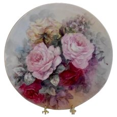 Limoges 1913 Charger Hand Painted with Immense & Beautiful Roses