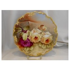 Exquisite Limoges Plaque/Charger; Outstanding Roses Outside a Garden Wall