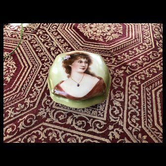 Superb Lady's Trinket/Powder/Dressar Jar; Completely Hand Painted Lady