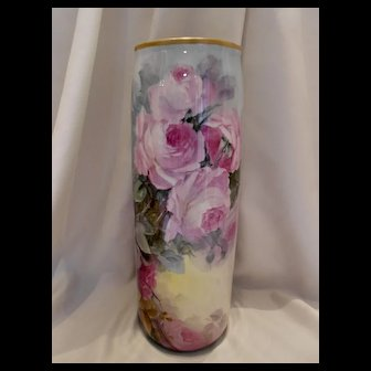 "Fabulous Belleek 15"" Vase; Huge and Colorful Roses"