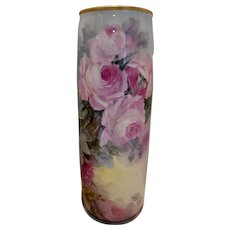 "Fabulous Belleek 15"" Vase; Huge and Colorful Roses"