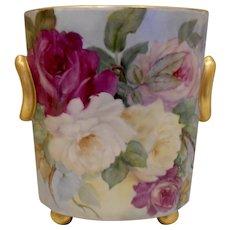 Very Lovely Limoges Style Cache Pot; Huge, Splashy Roses