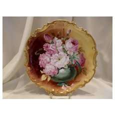 Fabulous Limoges Pierced Rococo Plaque; Roses In a Vase; Master Artist Duval