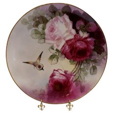 Striking Tolpin Studios Charger; Rich Burgundy Roses & a Butterfly
