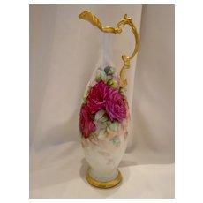 Graceful & Lovely Art Nouveau Ewer; Vivid Roses
