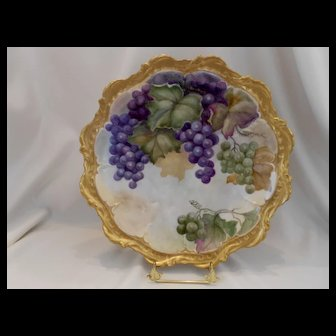 Beautiful Limoges Charger; Rich Purple & Green Grapes; Fat Leaves