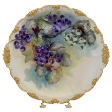 Gorgeous Pouyat Limoges Ornate Large Charger; Rich Purple Grapes