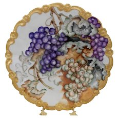 Vibrant Limoges Charger; Masses of Purple & Green Grapes