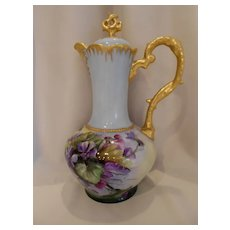 Fantastic CT Altwasser Chocolate Pot; Vivid, Beautifully Painted Violets; Heavy Gold