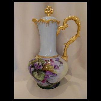 Fantastic CT Altwasser Chocolate Pot; Vivid, Beautifully Painted Violets; Heavy Gold