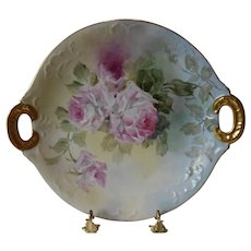 Gorgeous Limoges Handled Charger; Superb Roses; Julius Brauer