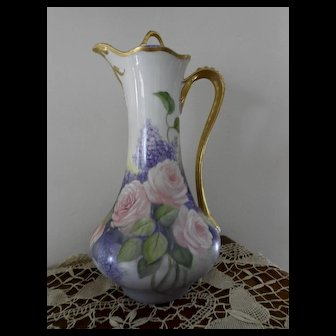 Beautiful, Tall Limoges Chocolate Pot; Coral Pink Roses with Lilacs; Heavy Gold