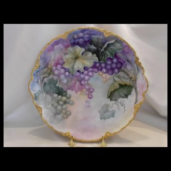 Gorgeous Limoges Haviland Charger; Purple, Green & Blush Grapes