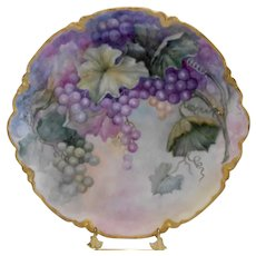 Gorgeous Limoges Haviland Charger; Purple, Green & Blush Grapes