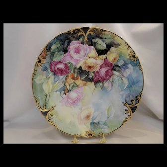 Stunning & Beautiful Limoges Charger; Roses, Leaves, Medallions of Gold