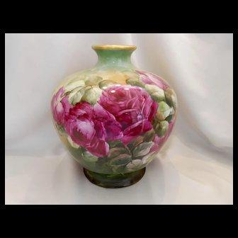 Huge Belleek Bulbous Vase; Chock Full of Red Roses